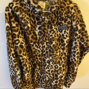 PINK Victoria's Secret Sherpa Jacket Leopard print